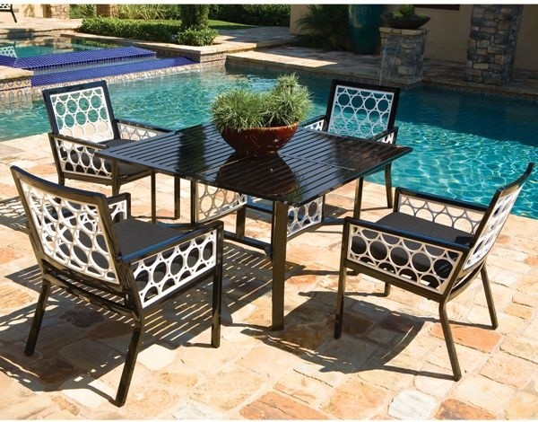 patio furniture set made of black white aluminum