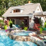 Pool Side House With Thick Stone Walls, Vaulted Ceiling, TV, Fireplace, Outdoor Fan, Blue Sofa