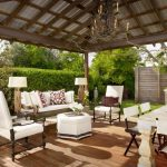 Porch Roof Designs Metal Roof Wood Beam Hardwood Flooring Rustic Chandelier Dining Table And Chair Armchairs And Ottoman
