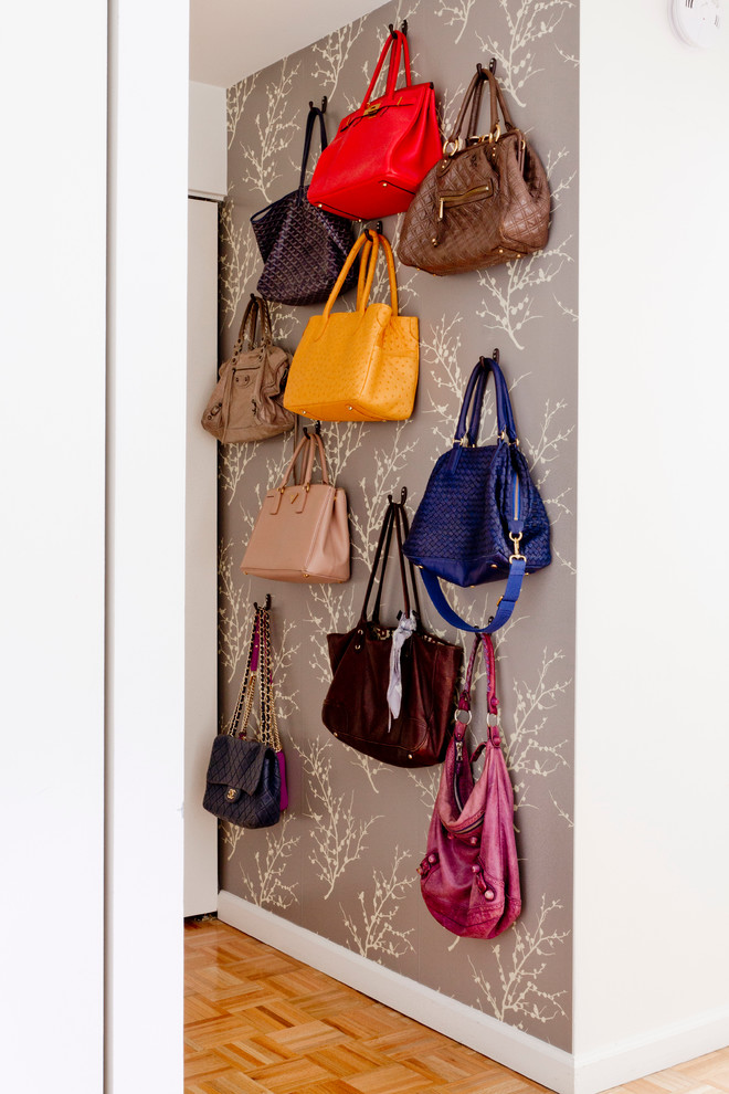 Purse Storage Ideas Beautful Gray Patterned Wallpaper Purse Display  Artistic Storage Idea Sturdy Black Purse Hooks