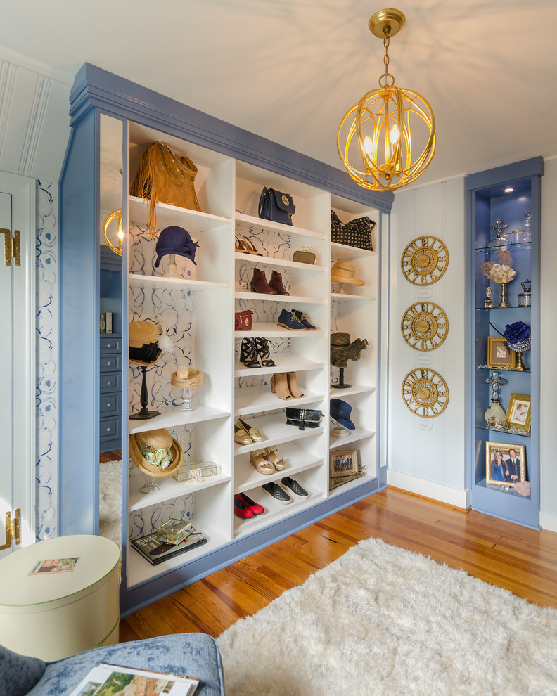 purse storage ideas blue purple accents built in storage gold accents pendant light shag area rug shoe storage wood flooring