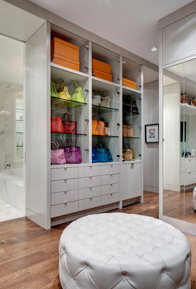 Purse Storage Ideas Color Coordinated Closet Colorful Purses Floor Mirror  Glass Shelves Gray Cabinets Drawers And