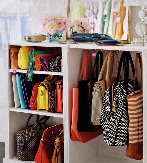 Purse Storage Ideas Small White Purse Storage Display Shelves Purse Hooks  Garden Flowers In Glass Vase
