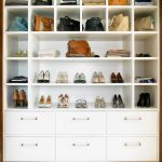 Purse Storage Ideas White Cabinet Display Shelves White Drawers Square Shelves Shoe And Purse Cabinet Wood Trim Beige Rug