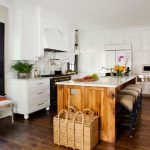 Rectangle Kitchen Island With White Marble Counter Top, Black Stools With Brown Leather Cushion