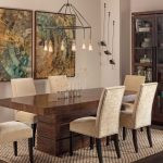 Rustic & Modern Dining Room Idea Dark Hardwood Dining Table With Clear Finishing Light Beige Dining Chairs Light Toned Jute Area Rug Dark Hardwood Dining Cabinet With Glass Door Rustic Pendant Lamp