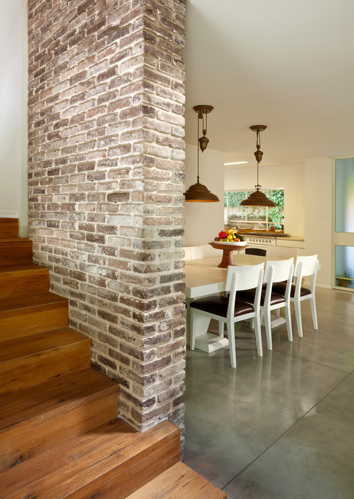 rustic staircase with modern touch hardwood staircase design red bricks walls with white details