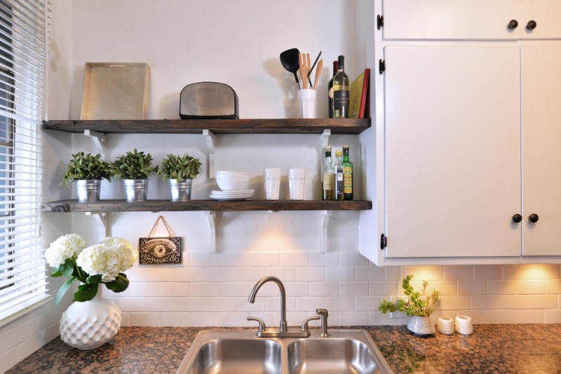 simple industrial kitchen shelves made of hardwood white ceramic tiles backsplash stainless steel sink and faucet granite countertop white kitchen cabinets with black handles