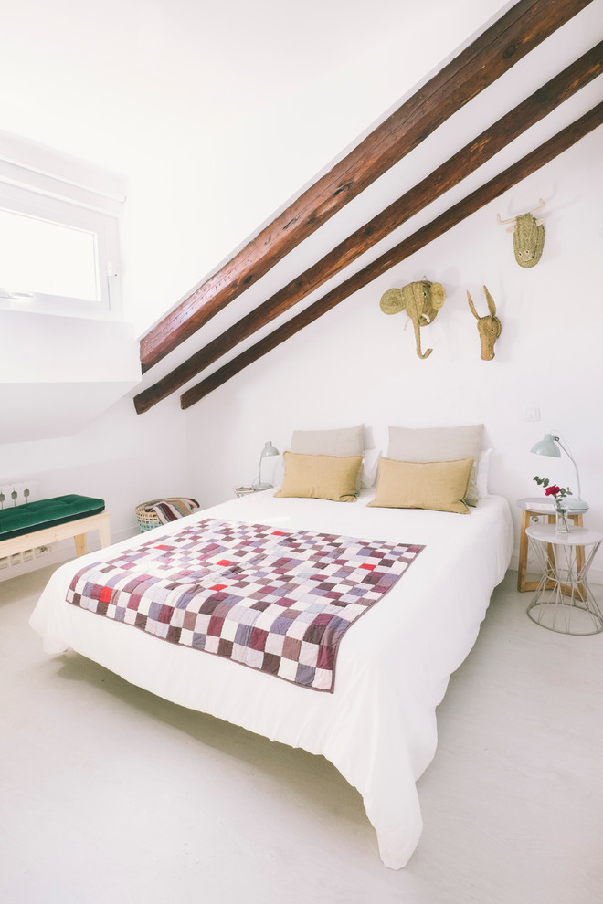 small master bedroom ideas animal wall sculpture sloped ceiling white bedding wood beams white bedroom unique side table