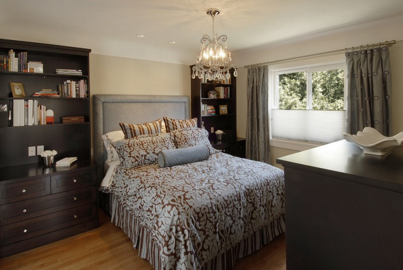 small master bedroom ideas beautiful bedding chandelier light wood flooring comfy headboard bookshelf with storage