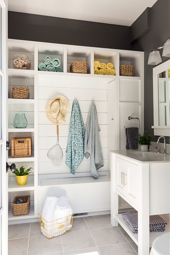 small mudroom ideas small wicker baskets open shelves square mirror white sink vanity towel holder hooks minimalist pendants