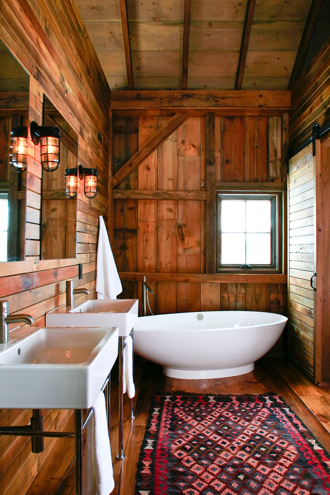 small rustic cabins cool lamps window wooden floor walls faucets bathroom small bathtub