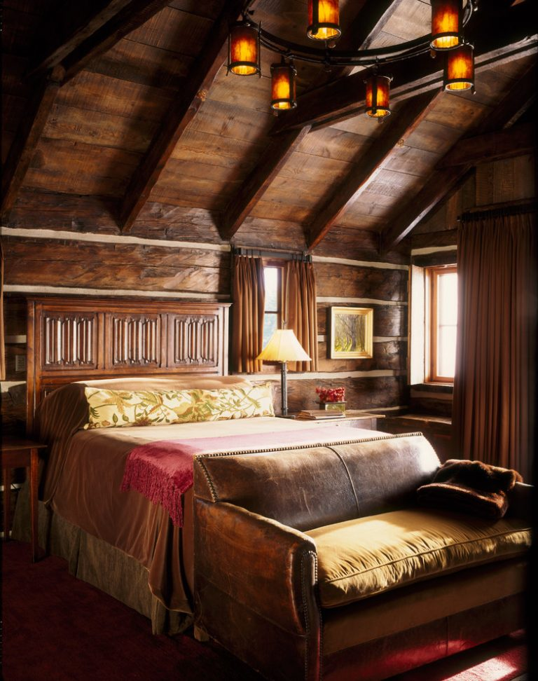 small rustic cabins dark floor bed couch windows curtains lamp chandelier eclectic bedroom - Cabin Design Ideas