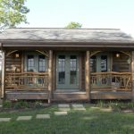 Small Rustic Cabins Grass Cool Railings Pillars Door Cool Lamps Trees Sky Beautiful Design