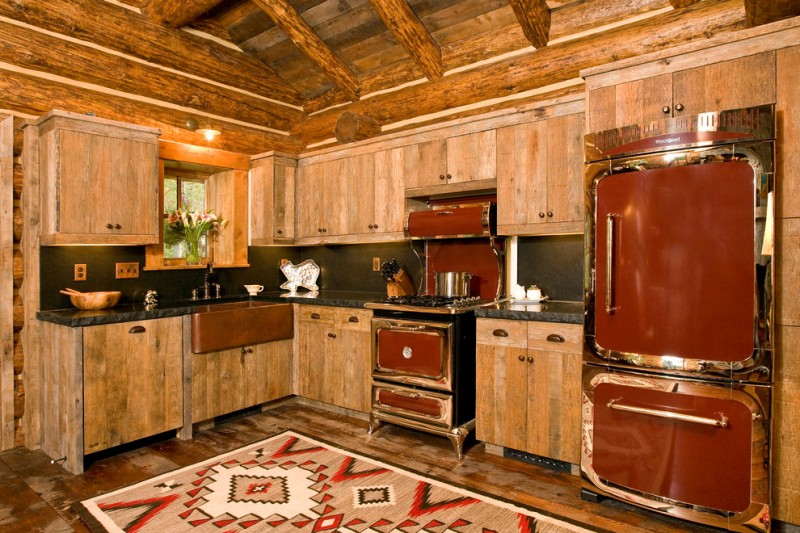 Small Rustic Cabins Kitchen Logs Sink Faucet Wooden Wall Cabinets Stove  Window Fridge Flowers Dark Countertop