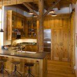 Small Rustic Cabins Wood Floor Cabinets Pillar Hanging Lamps Fridge Dark Countertop Cool Stools Stove Faucet Sink Beautiful Room