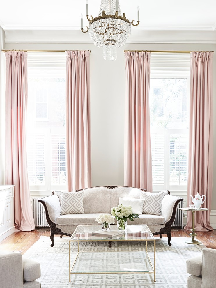 soft pink sateen on long curtain