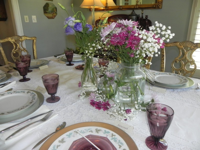 tea party decoration ideas graduation tea party buffet centerpiece decor garden flowers in a mason jar purple glassware antique dining table set