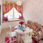 tea party decoration ideas pinkies room nice wallpaper shabby couch white wooden table and chairs pink rug window seat colorful curtain chandelier