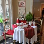tea party decoration ideas red braided simply home solid square chair pad uma inc aluminium 3 tier tray white and red table clothes