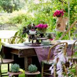 tea party decoration ideas vintage dining table set hanging flower decoration purple table cloth outdoor tea par