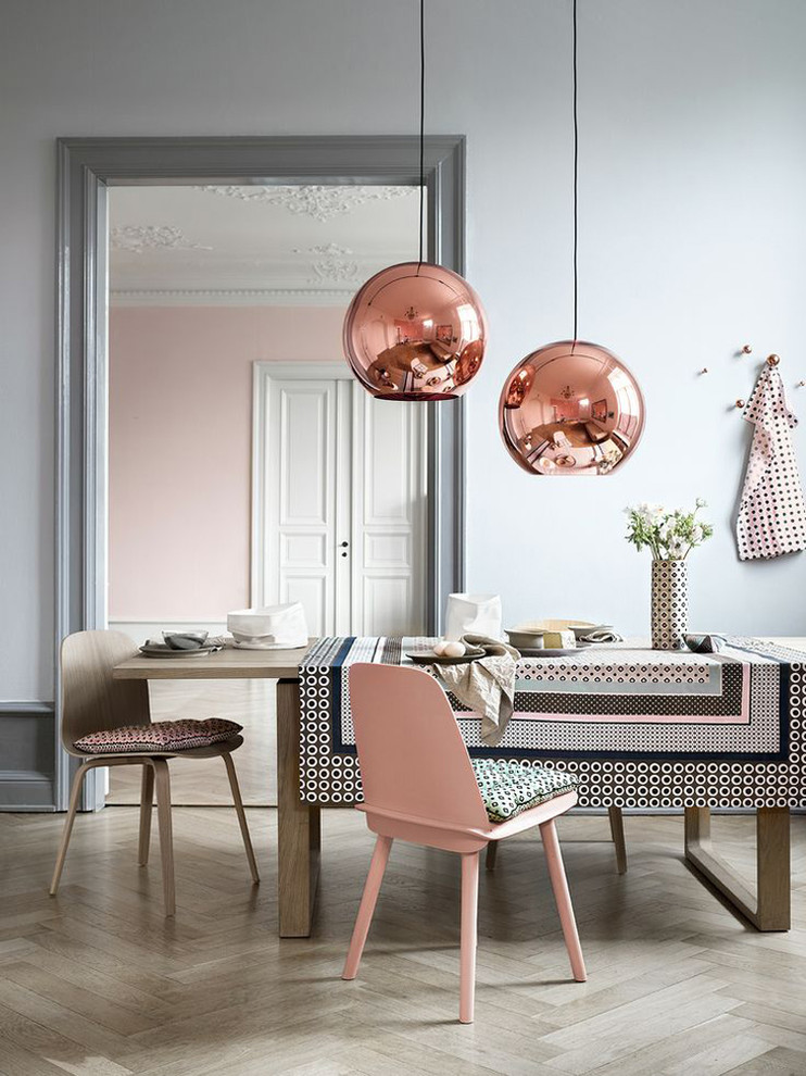 traditional dining room idea dominant grey peach table cover dining chairs with outer peach and textured peach seater copper toned pendant light fixtures