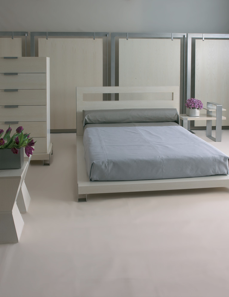 urban style bed frame in white modern bedside tables with aluminum legs white minimalist dresser