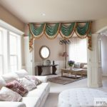 Valances For Living Room Green Chenille Swag Valance Curtains White Sofa White Tufted Ottoman Patterned Pillows White Windows