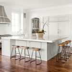 White Large Square Kitchen Island With Marble Top And Storage Under, Wooden Stools Around