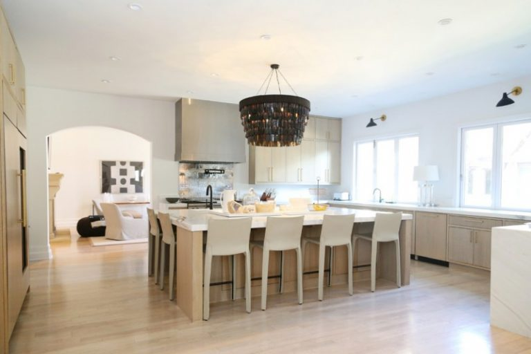 white square kitchen island with two sides for seating area with white stools with back and - Square Kitchen Island