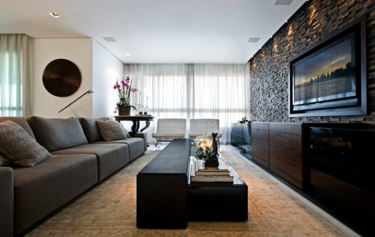 Contemporary Open Concept Family Room Idea With A Wall Mounted TV Black  Painted Wall Gray Sofa