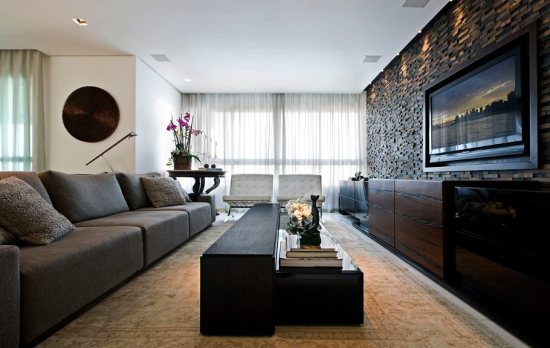 Perfect Contemporary Open Concept Family Room Idea With A Wall Mounted TV Black  Painted Wall Gray Sofa