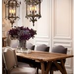 French Style Dining Chairs In Grey Long Wood Dining Table Glass Vase With Real Plants A Pair Of Capital Lighting Fixtures