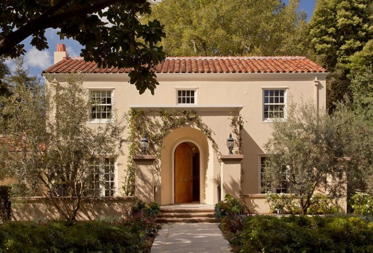 Charming exterior paint colors with brown roof ideas for for Mediterranean stucco