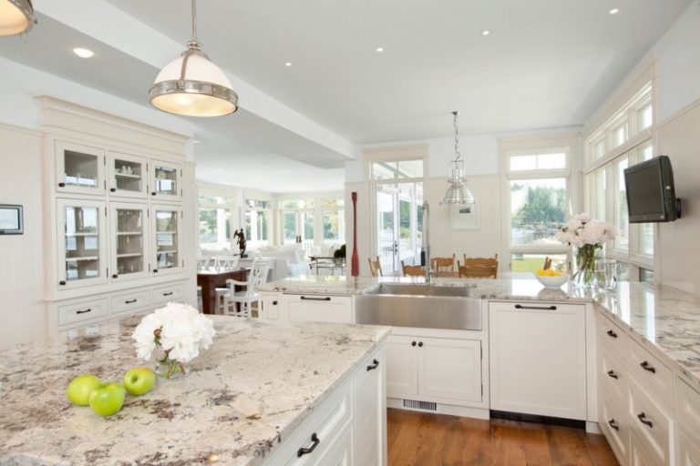Traditional Kitchen Idea With A Farmhouse Sink And Laminate Granite  Countertops White Painted Cabinets Medium Toned