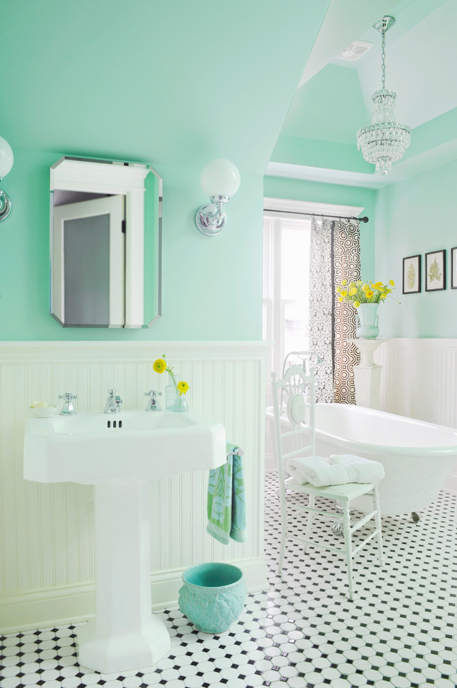 bathroom floor tile ideas green sky painted wall black and white floor tile white tub elegant chandelier curtain chair mirror wall sconces
