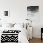 Black And White Bedroom Black And White Throw Blanket White Bedblack Chair Black And White Artworks Futuristic Table Lamp Small White Nightstands