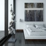 black and white bedroom dark hardwood floor white floating bed black framed large glass window and door black and white arts