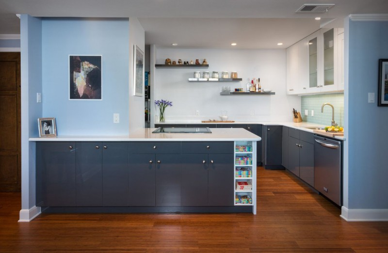 blue wall blue tiled backsplash flat panel cabinet bookd shelves floating shelves undermount sink recessed lights