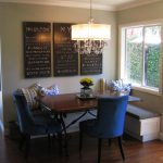 Contemporary Dining Room A Pair Of Blue French Dining Chairs Dark Hardwood Dining Table With Black Wrought Iron Base Corner Seating Benches With Under Storage Chalkboard Decorations On Walls