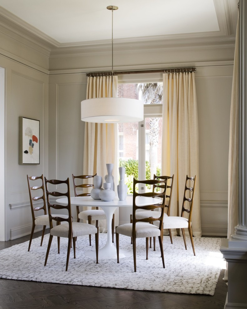 contemporary dining room with modern French dining room supported with wood back and white fabric white square area rug white round top table white pendant lamp grey walls light yellow draperies