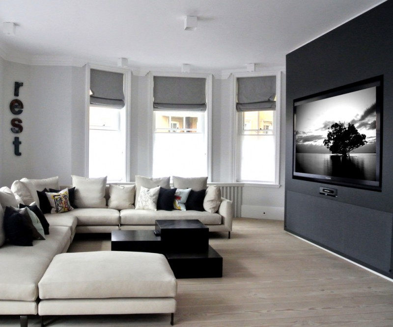 Be simple yet modern with these black and white living for Black and white living room set