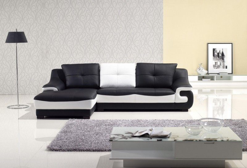 Contemporary Living Room Black And White Leather Sofa Grey Area Rug White  Floors Modern Grey Coffee