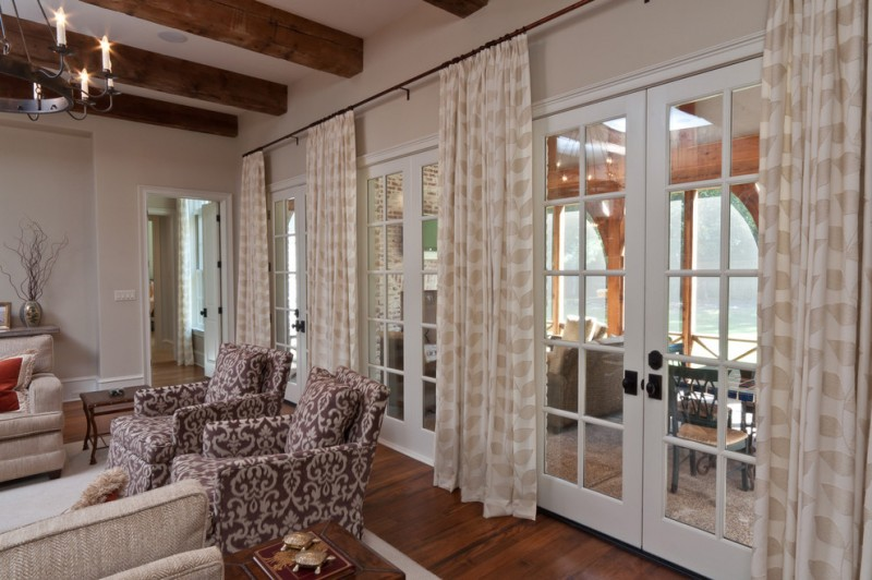 Marvelous curtains for french doors to be inspired by Great room curtain ideas