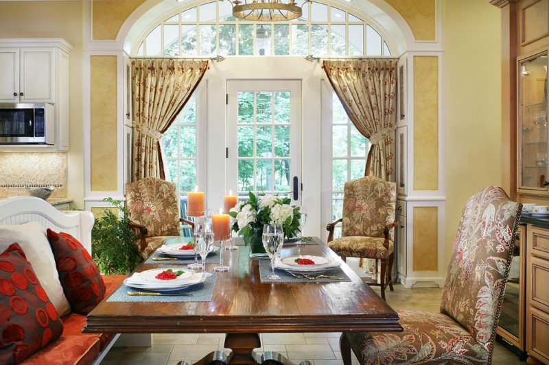 curtains for french doors pretty curtains white framed door half circle window wood dining table patterned chairs chandelier