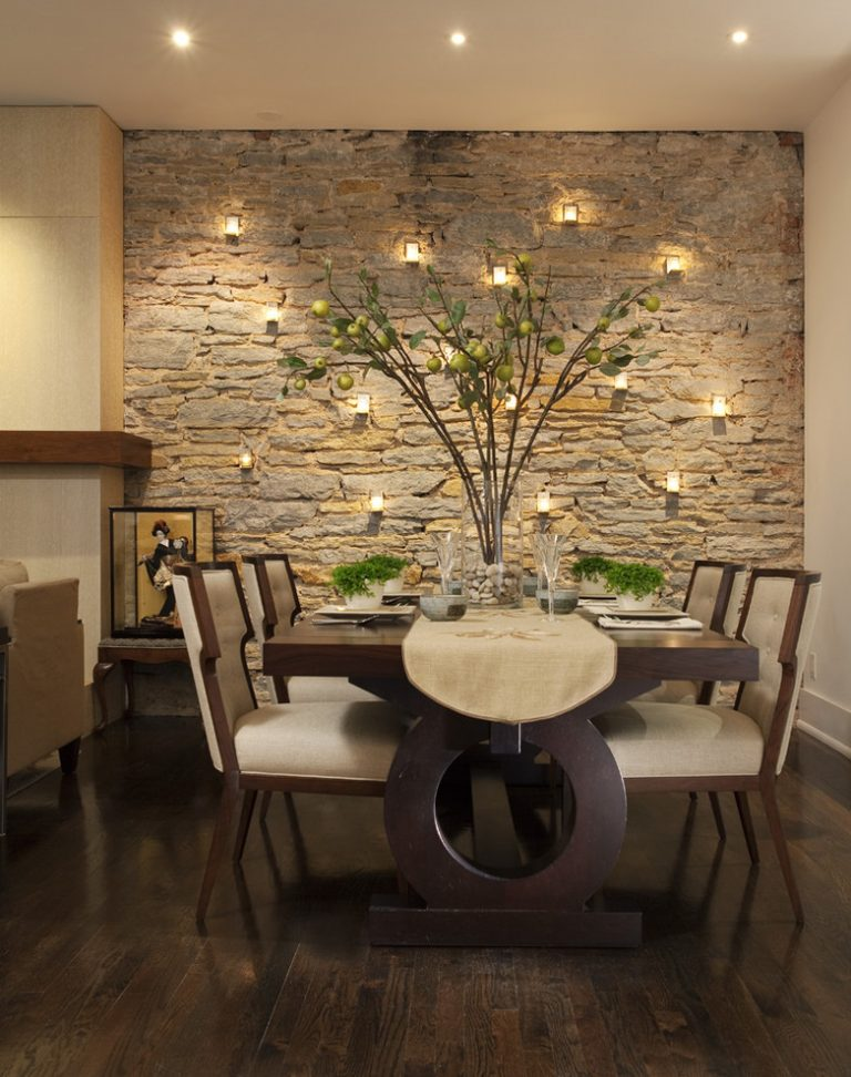Dining Room Decorating Ideas Candle Holders On Stones Wall Plant Unique  Wooden Table Comfy Chairs Wood