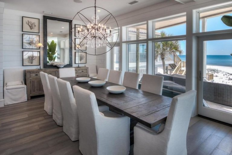 Dining Room Decorating Ideas Unique Chandelier Long Wood Table Cushioned Chairs Big Mirrors Rustic Frames