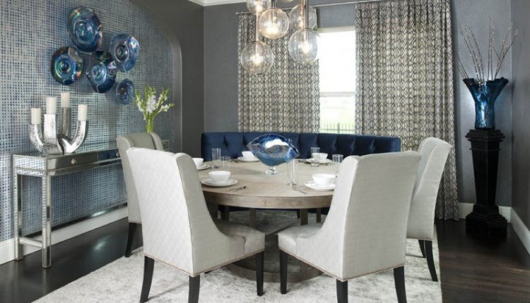 dining room decorating ideas van deusen blue gauntlet gray paint color large bristol vase in cobalt blue sinfornia highball drinkware wall plate decor