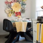 Dining Room Decorating Ideas Vitra New Black Panton Chair Flower Table In White Colorful And Multidesign Paper Flowers Yellow White Chevron Table Cloth