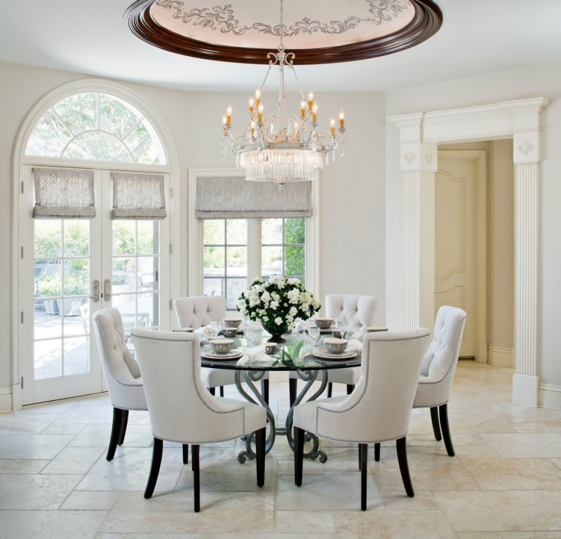 dining room decorating ideas white chairs glass dining table beautiful chandelier and ceiling white flowers arrangement in black vase windows and shades